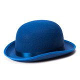 A blue bowler hat on a white background. Isolated stock photography
