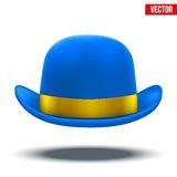 Blue bowler hat on a white background vector Royalty Free Stock Photo
