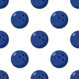 Blue Bowling Ball Flat Icon Seamless Pattern Stock Photo
