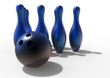 Blue bowling pins with shadows. 3D rendered illustration of blue bowling pins and a black ball casting strong shadows on a white background Royalty Free Stock Photos