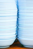 Blue bowls on table Stock Image