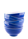 Blue bowls on white background. Isolated Royalty Free Stock Photo