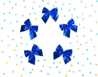 Blue bows and colorful beads Stock Images