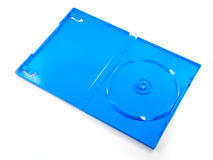 Blue box of a DVD disc isolated on white. The blue box of a DVD disc isolated on white Stock Photos