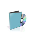 Blue box and dvd-disk Stock Photos