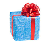The blue box with a gift. With a red ribbon isolated on white stock photography