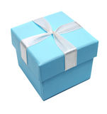 Blue box for gifts Stock Images