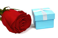 Blue box for gifts and rose Royalty Free Stock Images