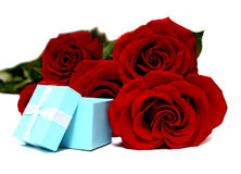 Blue box for gifts and rose Royalty Free Stock Photos