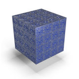 Blue cube with electronic circuits Stock Photo