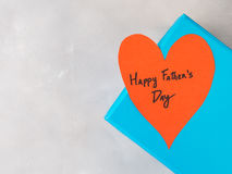 Blue box present for Father`s day with red heart Royalty Free Stock Image