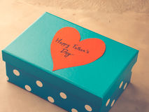 Blue box present for Father`s day with red heart. Toned Royalty Free Stock Images