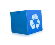 Blue box represents recycling Stock Photo