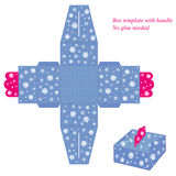 Blue box template with snowflakes. Box with snowflakes pattern. Vector illustration of a box and box template Stock Photos