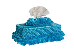 Blue Box of Tissues. On White Background Stock Images