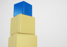 Blue box at top showing leader concept. Blue box showing leader, 3d cubes stack concept Royalty Free Stock Image