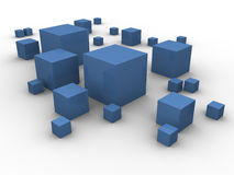 Blue boxes in chaos. Blue boxes in different sizes scattered around on a white background. Made in 3d Stock Images