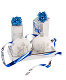 Blue boxes and Christmas blue balls. Are on the white fur Stock Photography
