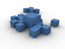 Blue boxes clustered Stock Photos