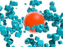 Blue boxes flying around red sphere Royalty Free Stock Photo