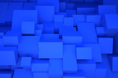 Blue boxes. Random boxes 3D background blue stock illustration