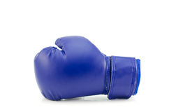 Blue boxing glove. Blue protective boxing glove on white background stock photos