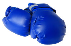 Blue boxing gloves. On white background isolated Royalty Free Stock Photo