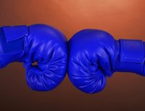 Blue boxing gloves Royalty Free Stock Image