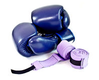 Blue boxing gloves and hand bandage Royalty Free Stock Photos