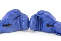 Blue boxing gloves isolated Royalty Free Stock Photography