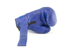 Blue boxing gloves isolated Stock Images