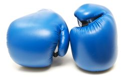Blue boxing gloves. Isolated on white background royalty free stock image