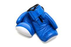 Blue boxing gloves. Isolated on white background Stock Photography
