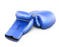 Blue boxing gloves isolated  on white Stock Photos