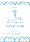 Blue Boy,s Baptism/Christening/First Communion/Confirmation Invitation with Cross Design - High Resolution or Vector. This Baptism or Christening invitation Royalty Free Stock Photography