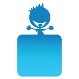 Blue boy on top of a banner Stock Images