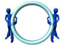 Blue Boys with round blue frame. Computer generated 3d characters holding a rounded blue frame Royalty Free Stock Image