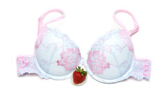 Blue bra with rose embroidery and strawberries Stock Photo