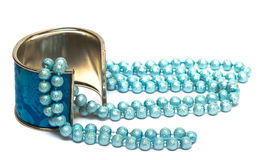 Blue bracelet with beads Royalty Free Stock Photo