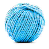 Blue braided skein, crochet thread roll isolated on white background Royalty Free Stock Image