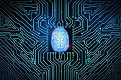 Blue brain on circuit board Stock Image