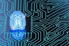 Blue brain on circuit board Royalty Free Stock Photos