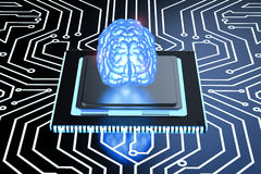 Blue brain on circuit board Royalty Free Stock Photography