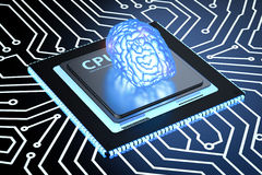 Blue brain on circuit board Royalty Free Stock Images