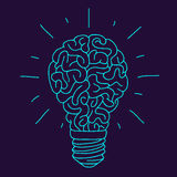 Blue Brain in the form of a burning light bulb Stock Photos