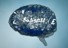 Blue brain with white business doodles against blue background. Digital composite of Blue brain with white business doodles against blue background royalty free stock photos