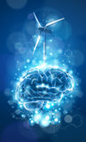 Blue brain, wind power generator & chemical formulas Stock Images