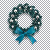 A blue branch of spruce in the form of a Christmas wreath with shadow and snowflakes. Blue bow, silver balls and beads Royalty Free Stock Photos