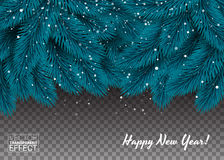 Blue branches of a Christmas tree background.. Elegant Christmas decorations snowing. Happy New Year. Vector illustration Royalty Free Stock Photography