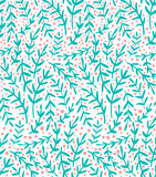 Blue branches. Vector seamless pattern with cute hand drawn floral elements and dots, floral background Royalty Free Stock Photos
